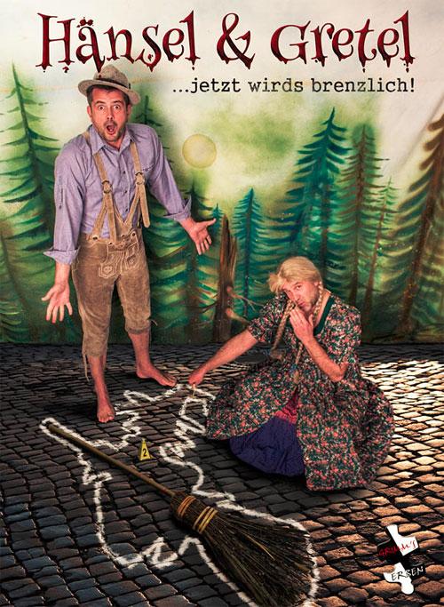 """Das Plakatfoto zur Märchen-Comedy-Dinner-Show 2014 """"Hänsel und Gretel"""": Grimms Erben Jens Uwe Carl (links) alias Hänsel und Volker Schmöller-Rose alias Gretel. Copyright: mediahaus Kreischa / Friedrich Herrmann."""