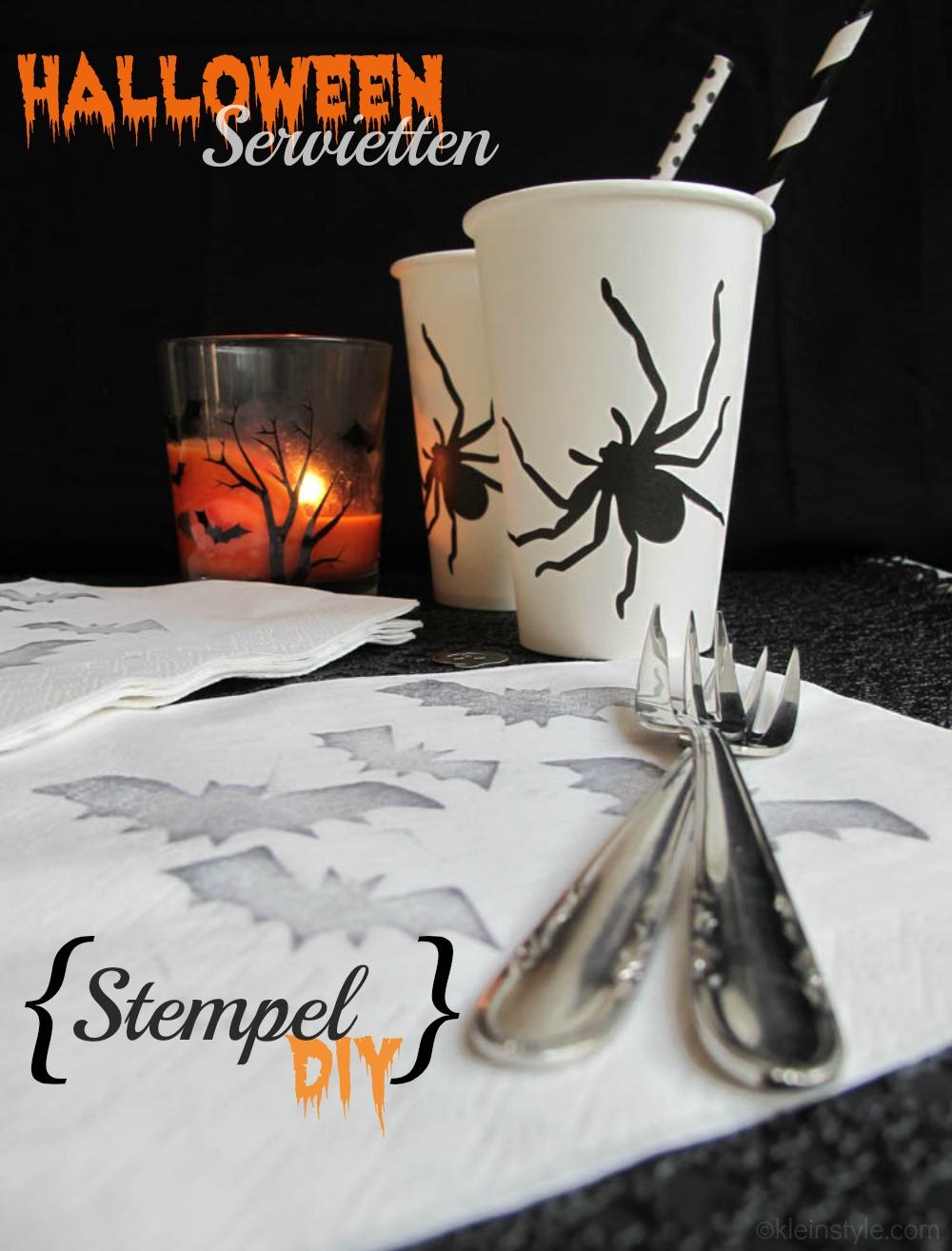 halloween servietten stempel diy by kleinstyle.com