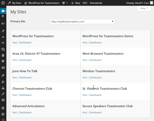 Multiple sites hosted under the WordPress for Toastmasters umbrella.