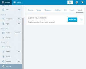 WordPress.com's data export feature