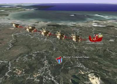 Google Earthで3Dのサンタクロースとトナカイを追跡