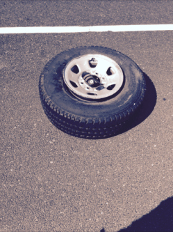 CHP investigators said this jettisoned wheel assembly caused a chain reaction accident on I-680 Monday. Photo: CHP