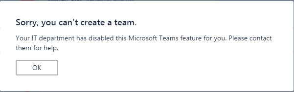 Using Microsoft Teams while Office 365 Groups are disabled