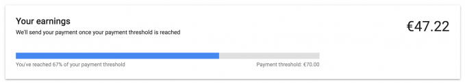 Google AdSense payment threshold example