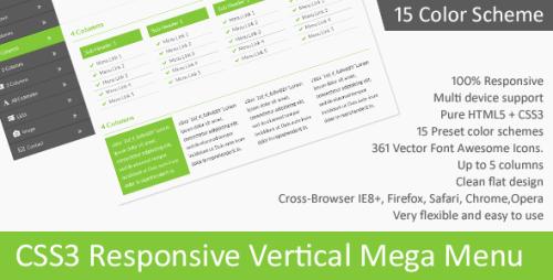 CSS3 Responsive Vertical Mega Menu