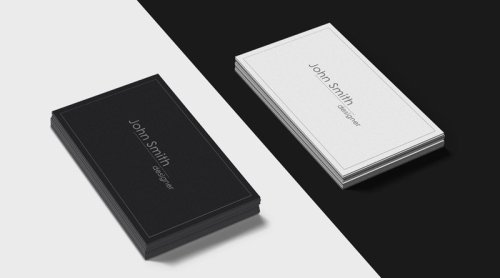 Black And White Business Cards Mockup PSD