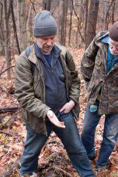 Jim Tunney displaying Galerina marginata (Deadly Galerina)