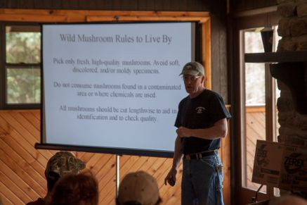 Bob Sleigh giving an introduction to Morels in the lodge.