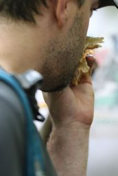 Blaine Sanner checks the aroma of a mushroom. By Brian Johanson.
