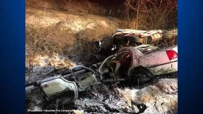 fallowfield fire company i70 crash 2 3 Adults, 1 Year Old Child Injured In Snow Related Crash