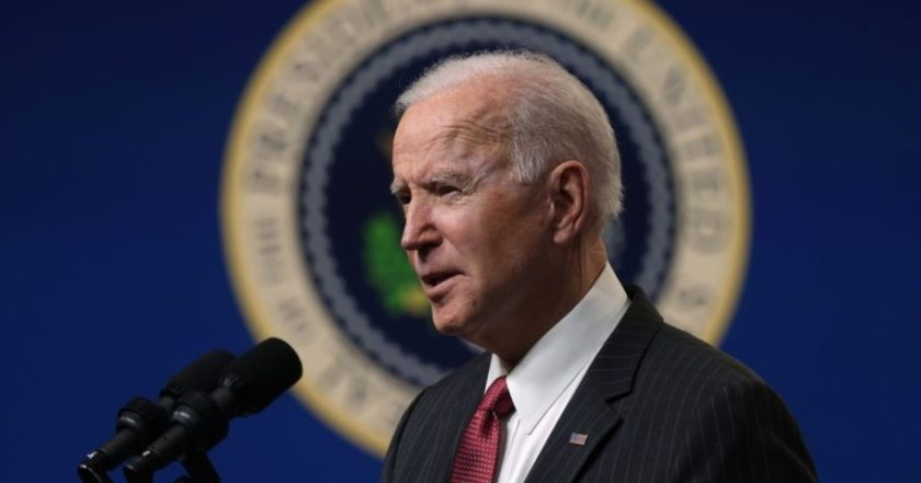 President Joe Biden speaks at the South Court Auditorium at the Eisenhower Executive Building in Washington, D.C., on Wednesday.