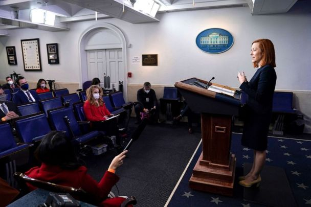 PHOTO: White House press secretary Jen Psaki speaks during a press briefing at the White House, Feb. 12, 2021.