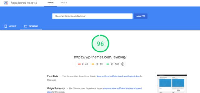 lawblog theme speed test for desktop