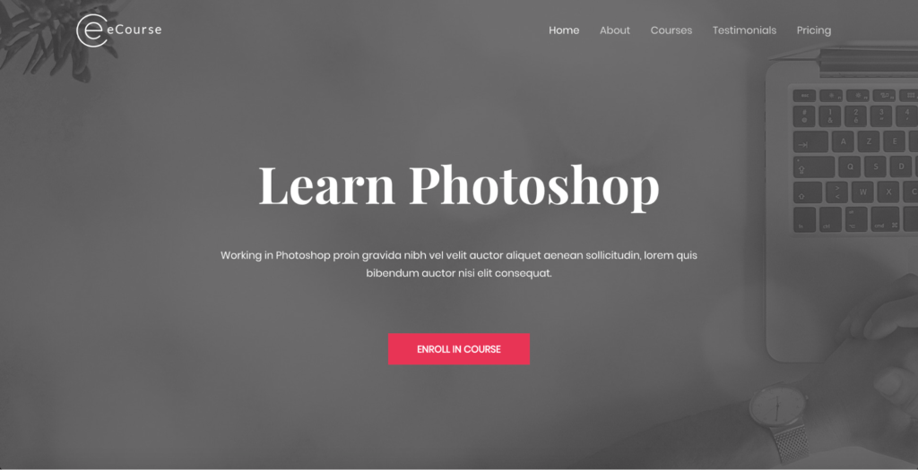 ecourse learn photoshop astra starter site