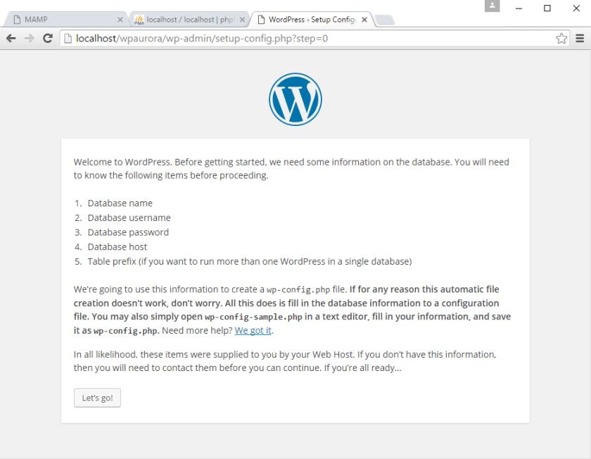 korak 2 instalacije WordPress-a