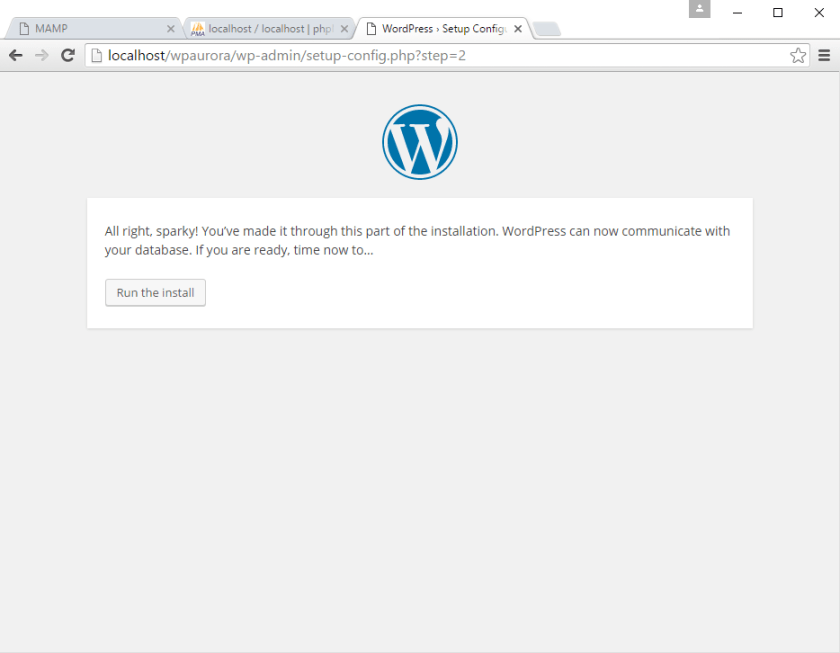 korak 4 instalacije WordPress-a