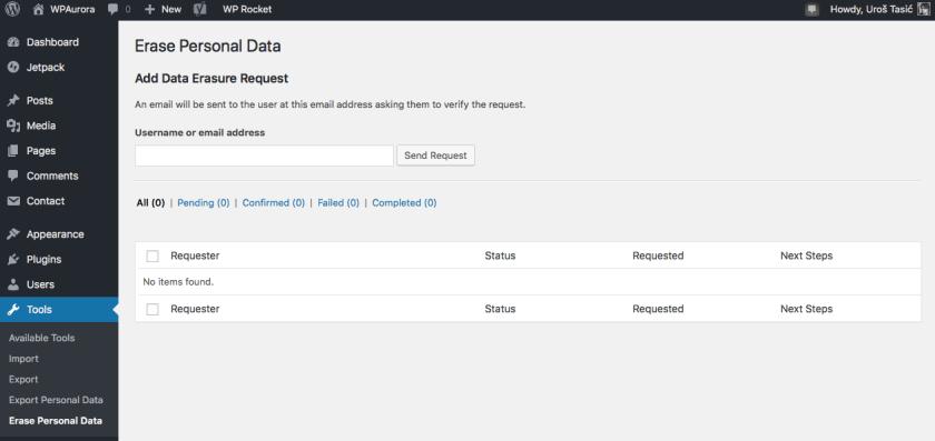 Rad sa podacima korisnika. WordPress 4.9.6
