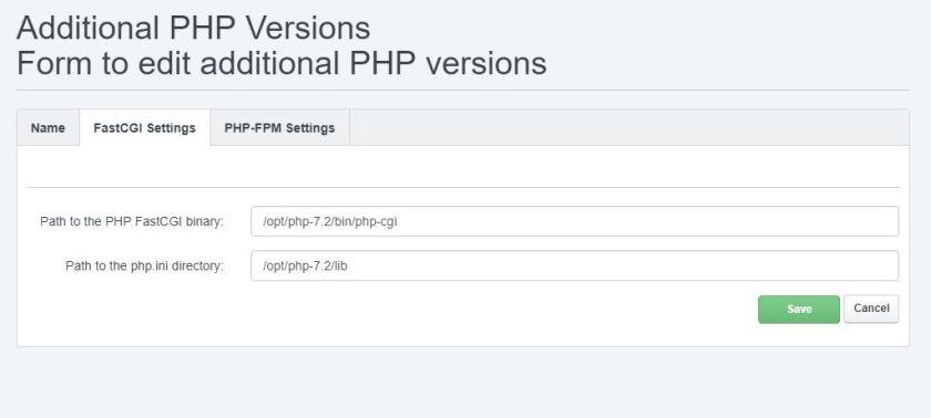 Dodavanje PHP 7.2 unutar ISPConfiga slika 02