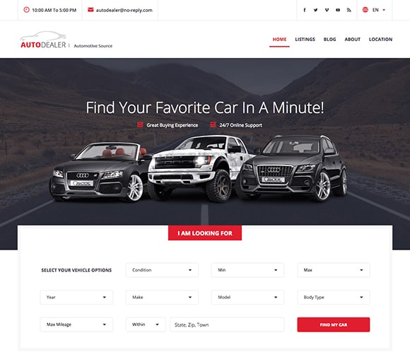auto listings theme demo