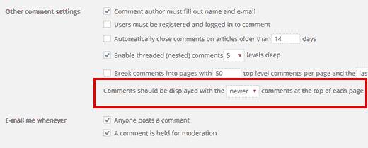 Hiển thị nhận xét mới hơn trên đầu trang trong WordPress
