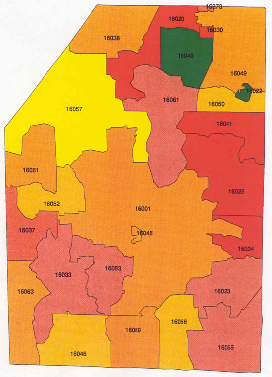 Montgomery County Pa Zip Code Map : montgomery, county, Pennsylvania, Radon, Bucks, County, Radon,, Northampton, Lehigh, Monroe, Maps,