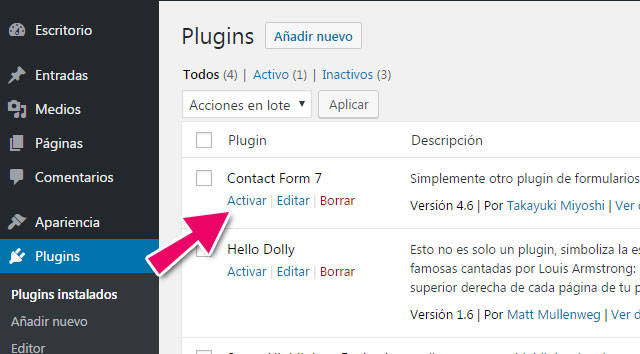 Como activar un plugin en WordPress