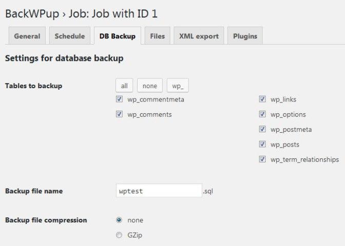 Crear backup de la base de datos de WordPress con BackWPup