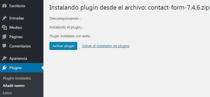 Instalar un plugin en WordPress mediante formulario de subida de archivos