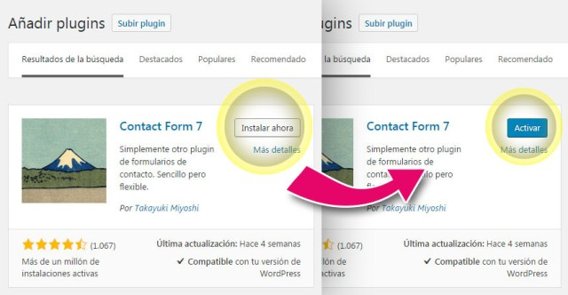 Instalar y activar el plugin de Contact Form 7 en WordPress
