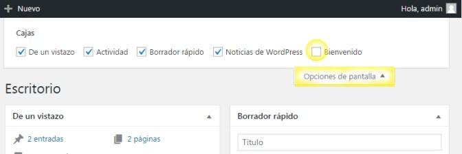 Ocultar o quitar el panel de bienvenida de la administracion de WordPress