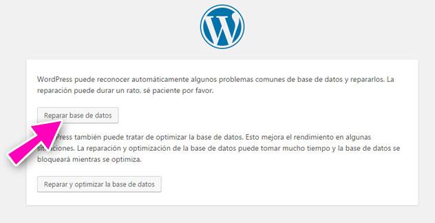 Reparar la base de datos en WordPress