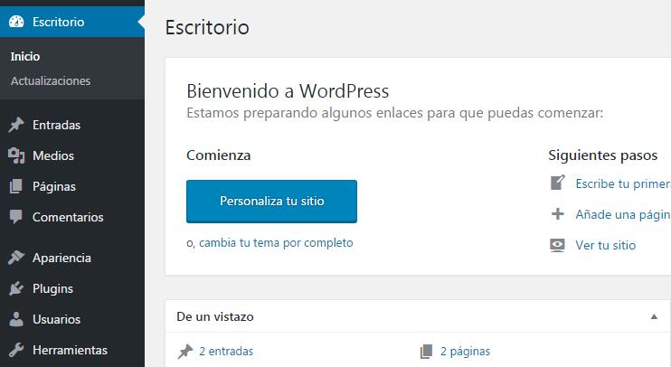 como ocultar o quitar el panel de bienvenida en WordPress