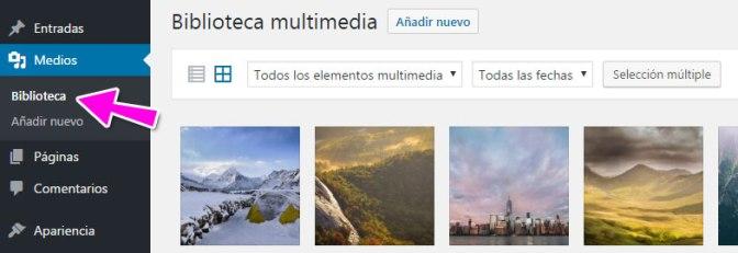Biblioteca de medios subidos a WordPress