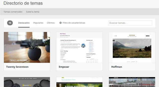 Directorio Oficial de Temas de WordPress