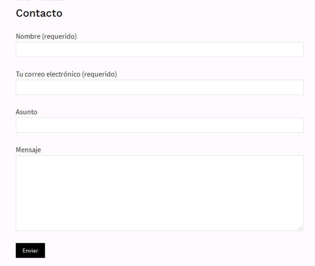 Formulario de contacto creado con Contact Form 7 en WordPress