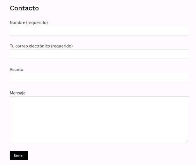 Formulario de contacto creado con Contact Form 7 en WordPress