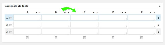 Arrastrar y soltar columnas y filas de la tabla en WordPress con plugin TablePress