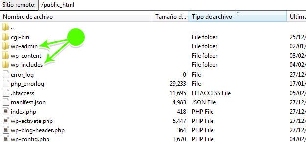 Borrar carpetas wp-includes y wp-admin y reemplazarlas para solucionar Internal Server Error
