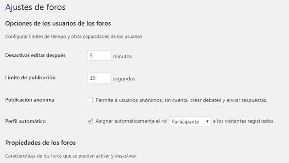 Configurar los ajustes de foro en plugin bbPress de WordPress