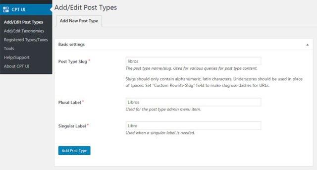 Crear nuevo custom post type en WordPress con Plugin Custom Post Type UI