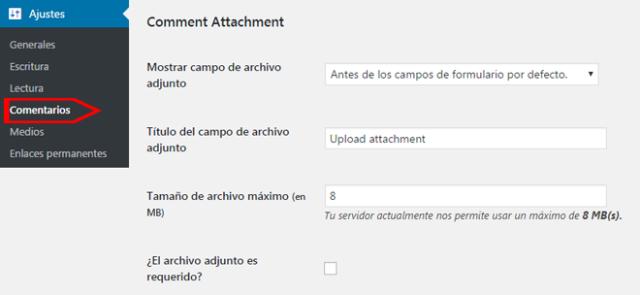 Ajustes de archivos adjuntos en comentarios en plugin Comment Attachment