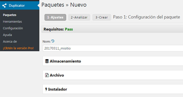 Plugin Duplicator para migrar y crear backup en WordPress