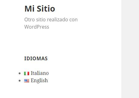 Widget de idiomas en plugin Polylang en WordPress