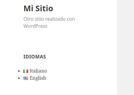 Widget de idiomas en plugin Polylang en WordPress