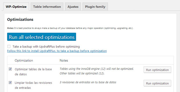 Limpiar base de datos con WP-Optimize