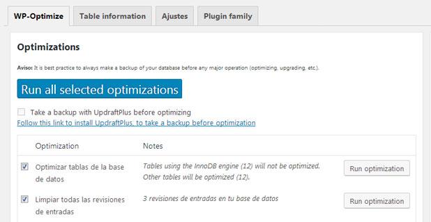 Limpiar base de datos con WP-Optimize