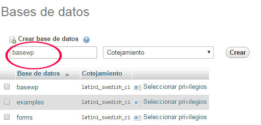 Crear base de datos para instalar WordPress con XAMPP