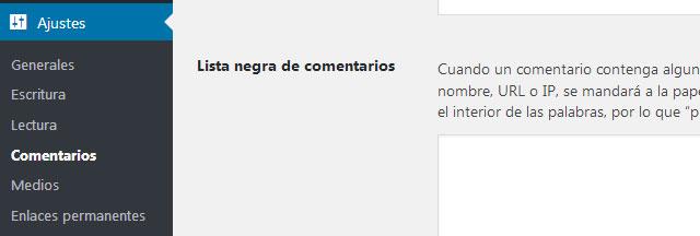 Lista negra de direcciones ip de comentarios en WordPress