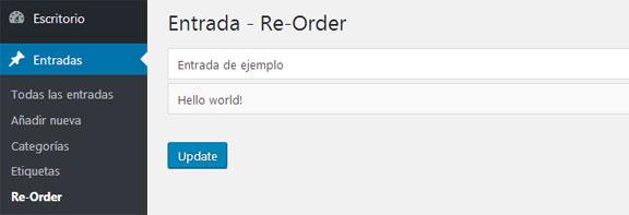 reordenar u ordenar custom post entradas personalizadas en WordPress