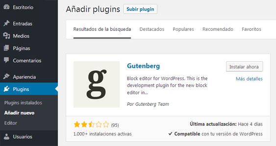 Instalar Plugin Gutenberg Nuevo Editor de WordPress